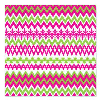 Hot Pink Green Tribal Chevron Pattern Invitation