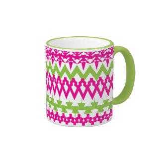 Hot Pink Green Tribal Chevron Pattern Ringer Coffee Mug
