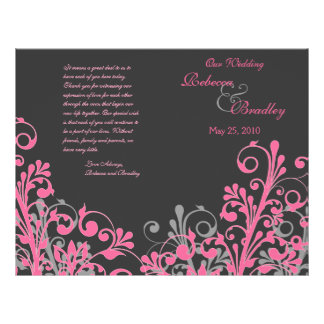 Hot Pink & Grey Abstract Floral Wedding Program