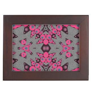 Hot Pink Grey Abstract Keepsake Box