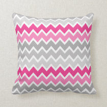 Hot Pink Grey Gray Ombre Chevron Pillow