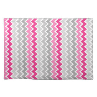 Hot Pink Grey Gray Ombre Chevron Zigzag Pattern Cloth Placemat