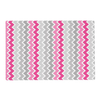 Hot Pink Grey Gray Ombre Chevron Zigzag Pattern Placemat