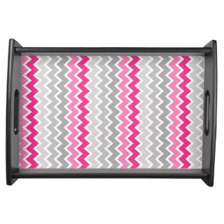 Hot Pink Grey Gray Ombre Chevron Zigzag Pattern Serving Tray