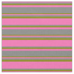 [ Thumbnail: Hot Pink, Grey & Green Pattern Fabric ]