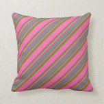 [ Thumbnail: Hot Pink, Grey & Green Pattern Throw Pillow ]