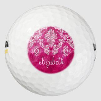 Hot Pink Grunge Damask Pattern Custom Monogram Pack Of Golf Balls