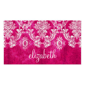 Hot Pink Grunge Damask Pattern Custom Text Business Card