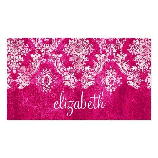 Hot Pink Grunge Damask Pattern Custom Text Business Card