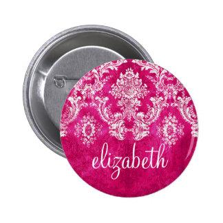 Hot Pink Grunge Damask Pattern Custom Text 2 Inch Round Button