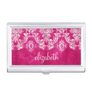 Hot Pink Grunge Damask Pattern Custom Text Case For Business Cards