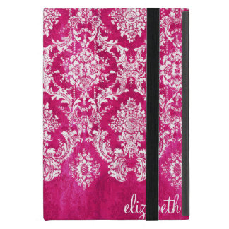 Hot Pink Grunge Damask Pattern Custom Text Cases For iPad Mini
