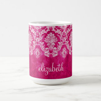 Hot Pink Grunge Damask Pattern Custom Text Coffee Mug