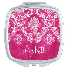 Hot Pink Grunge Damask Pattern Custom Text Compact Mirror at Zazzle