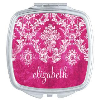 Hot Pink Grunge Damask Pattern Custom Text Compact Mirror
