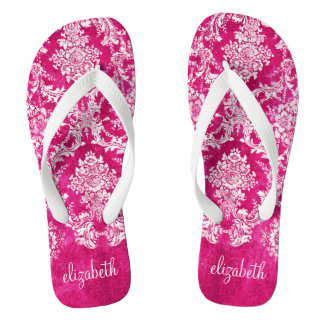 Hot Pink Grunge Damask Pattern Custom Text Flip Flops