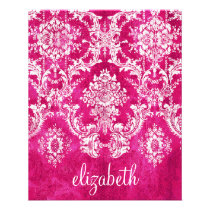 Hot Pink Grunge Damask Pattern Custom Text Flyer