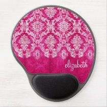Hot Pink Grunge Damask Pattern Custom Text Gel Mouse Pad