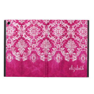Hot Pink Grunge Damask Pattern Custom Text Cover For iPad Air
