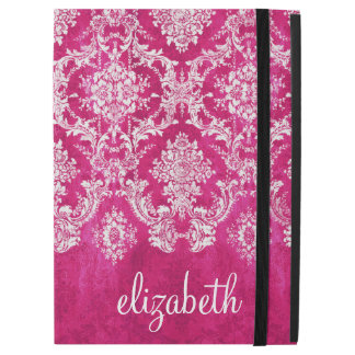 "Hot Pink Grunge Damask Pattern Custom Text iPad Pro 12.9"" Case"