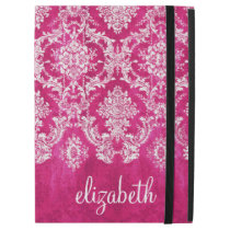 Hot Pink Grunge Damask Pattern Custom Text iPad Pro Case