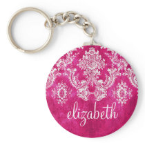 Hot Pink Grunge Damask Pattern Custom Text Keychain