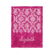 Hot Pink Grunge Damask Pattern Custom Text Fleece Blanket