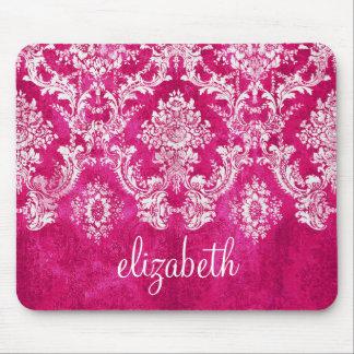 Hot Pink Grunge Damask Pattern Custom Text Mouse Pad