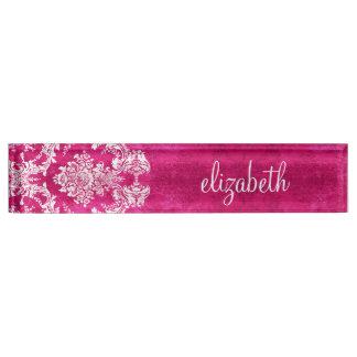 Hot Pink Grunge Damask Pattern Custom Text Nameplate