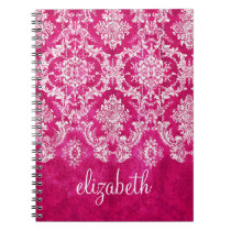 Hot Pink Grunge Damask Pattern Custom Text Notebook