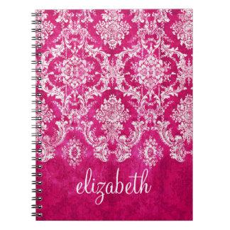 Hot Pink Grunge Damask Pattern Custom Text Notebook