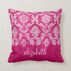 Hot Pink Grunge Damask Pattern Custom Text Pillows