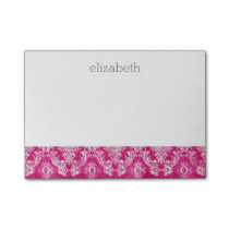 Hot Pink Grunge Damask Pattern Custom Text Post-it Notes
