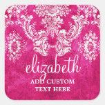 Hot Pink Grunge Damask Pattern Custom Text Square Sticker