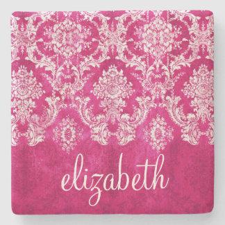 Hot Pink Grunge Damask Pattern Custom Text Stone Coaster