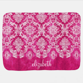 Hot Pink Grunge Damask Pattern Custom Text Swaddle Blanket