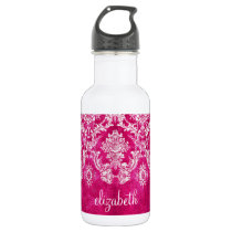 Hot Pink Grunge Damask Pattern Custom Text Water Bottle