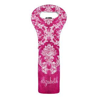 Hot Pink Grunge Damask Pattern Custom Text Wine Bags