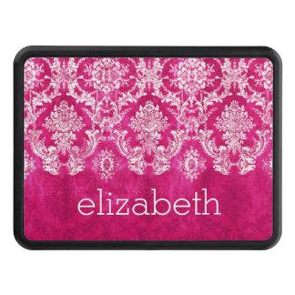 Hot Pink Grunge Damask Pattern Hitch Covers