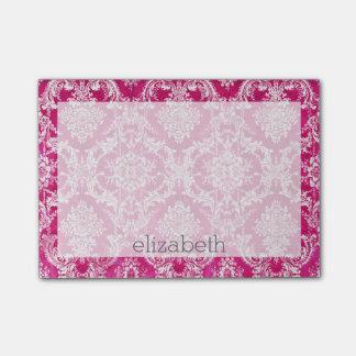 Hot Pink Grunge Damask Pattern Post-it® Notes