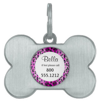 Hot Pink Grunge Leopard Pet Identity Tag Pet Tags