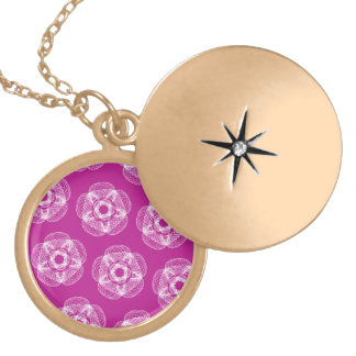 hot pink guilloce pattern round locket necklace