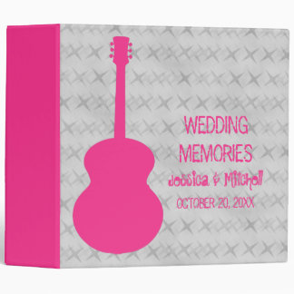 Hot Pink Guitar Grunge Wedding Binder