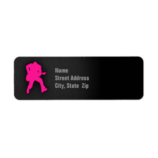 Hot Pink Guitar Player Return Address Label