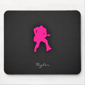 Hot Pink Guitar Player Mouse Pad