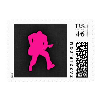 Hot Pink Guitar Player Postage