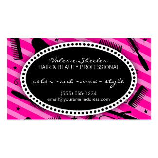 Hot Pink Hair Beauty Coupon Business Card Template
