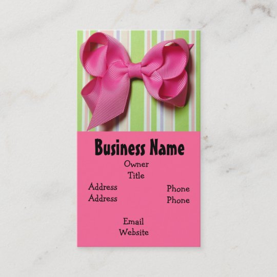 Hot pink hair bow business card zazzle hot pink hair bow business card colourmoves