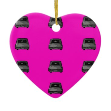Halloween Themed Hot Pink & Hearses Heart Ornament