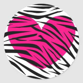 Hot Pink Heart and Zebra Stripes in Black and Whit Classic Round Sticker